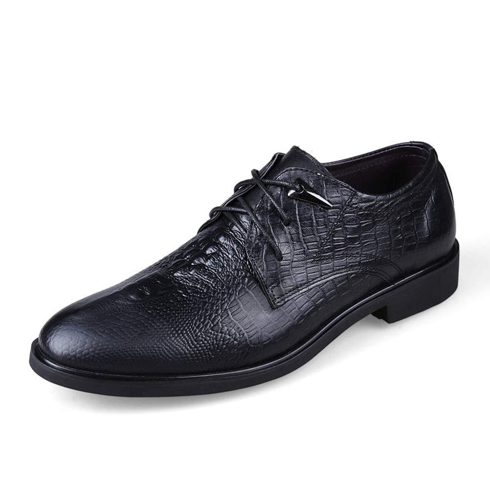 Leather Men's Casual shoes Crocodile Pattern Dress Low Men's shoes (color   Black, Size   43)
