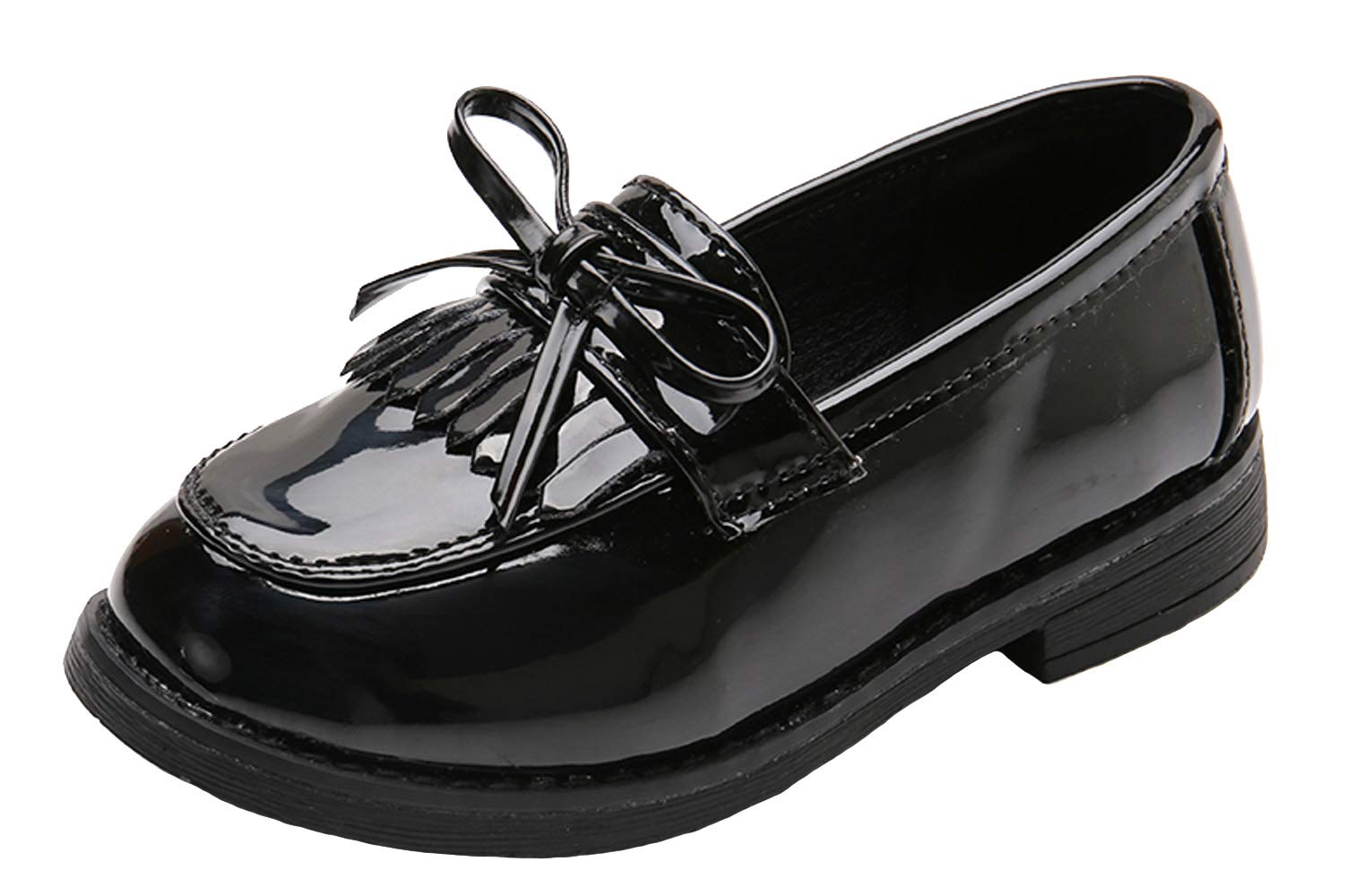 WUIWUIYU Girls' Patent Leather Slip-On Penny Loafers Flats Bow Tassel Oxfords Moccasins Dress Shoes