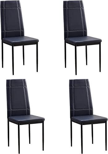 PBPKING Pu Leather Dining Chair Black 4 Kitchen Chairs