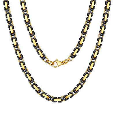 73a3d364565f3c Black and Gold Byzantine Necklace 18 inch Chain for Mens Gift ...