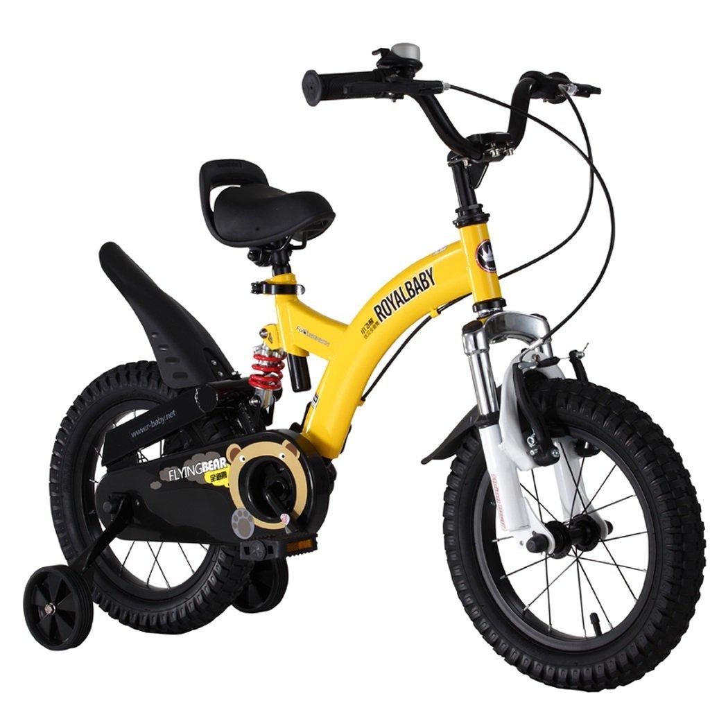 子供用自転車、3-6歳の男の子と女の子用の自転車、高さ90-135cmの14インチ (Color : Yellow) B07D11QVTJ