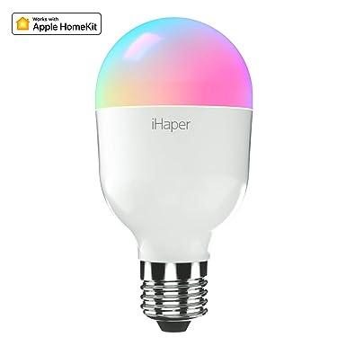 iHaper WiFi Smart Birne LED Lampe E27 Glühbirne Dimmbare Kompatibel mit Apple HomeKit, Alexa und Google Home 7W Mehrfarbige B