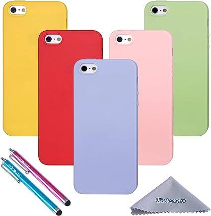 Wisdompro Lot de 5 coques de protection en gel TPU souple et coloré pour Apple iPhone 5, iPhone 5S et iPhone SE 1ère génération (vert, bleu clair, ...