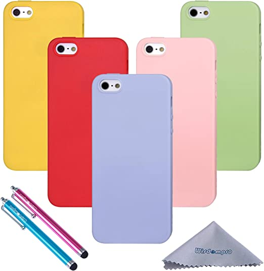 iPhone 5s Case, Wisdompro Bundle of 5 Pack Extra Thin Slim Jelly Soft TPU Gel Protective Case Cover for Apple iPhone 5, iPhone 5s and iPhone SE ...
