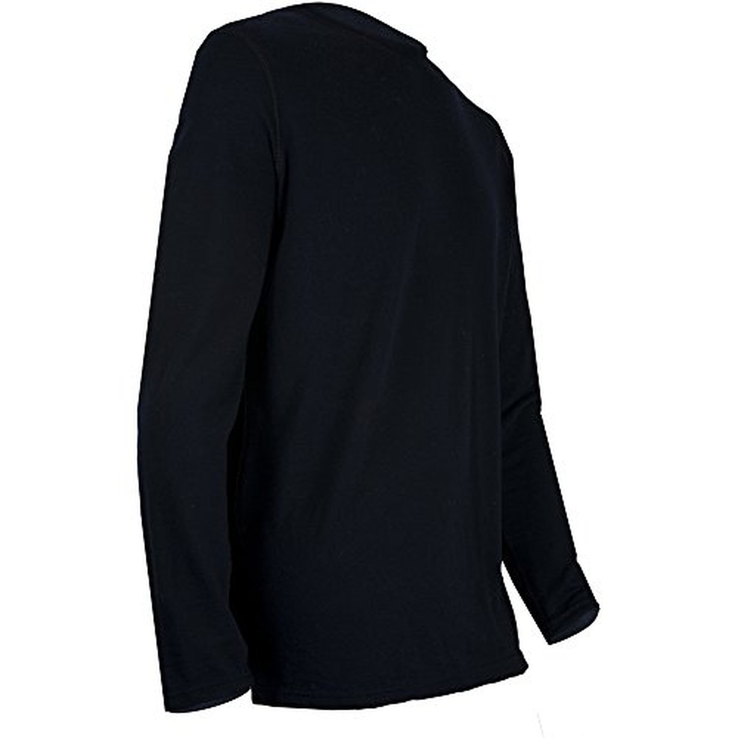 Black, Medium Polarmax Mens 2015 Montana Wool 1.0 LS Crew Baselayer