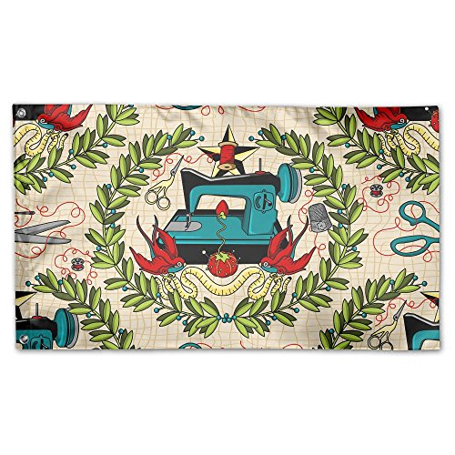 Miniisoul Garden Flag Sewing Machine Cool Pattern 59 X 35 In