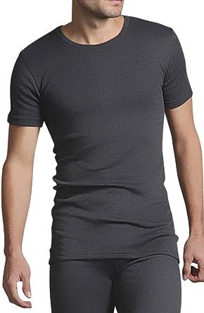 HEAT HOLDERS - Hombre Interior Manga Corta Algodon Invierno Térmica Abanderado Camiseta Blanca y Carbón: Amazon.es: Ropa y accesorios