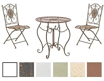 CLP Conjunto de Mesa & 2 Sillas Plegables Aldeano I Juego de Mesa & Sillas para Jardín I Conjunto de Muebles de Jardín en Hierro Galvanizado I Color: ...