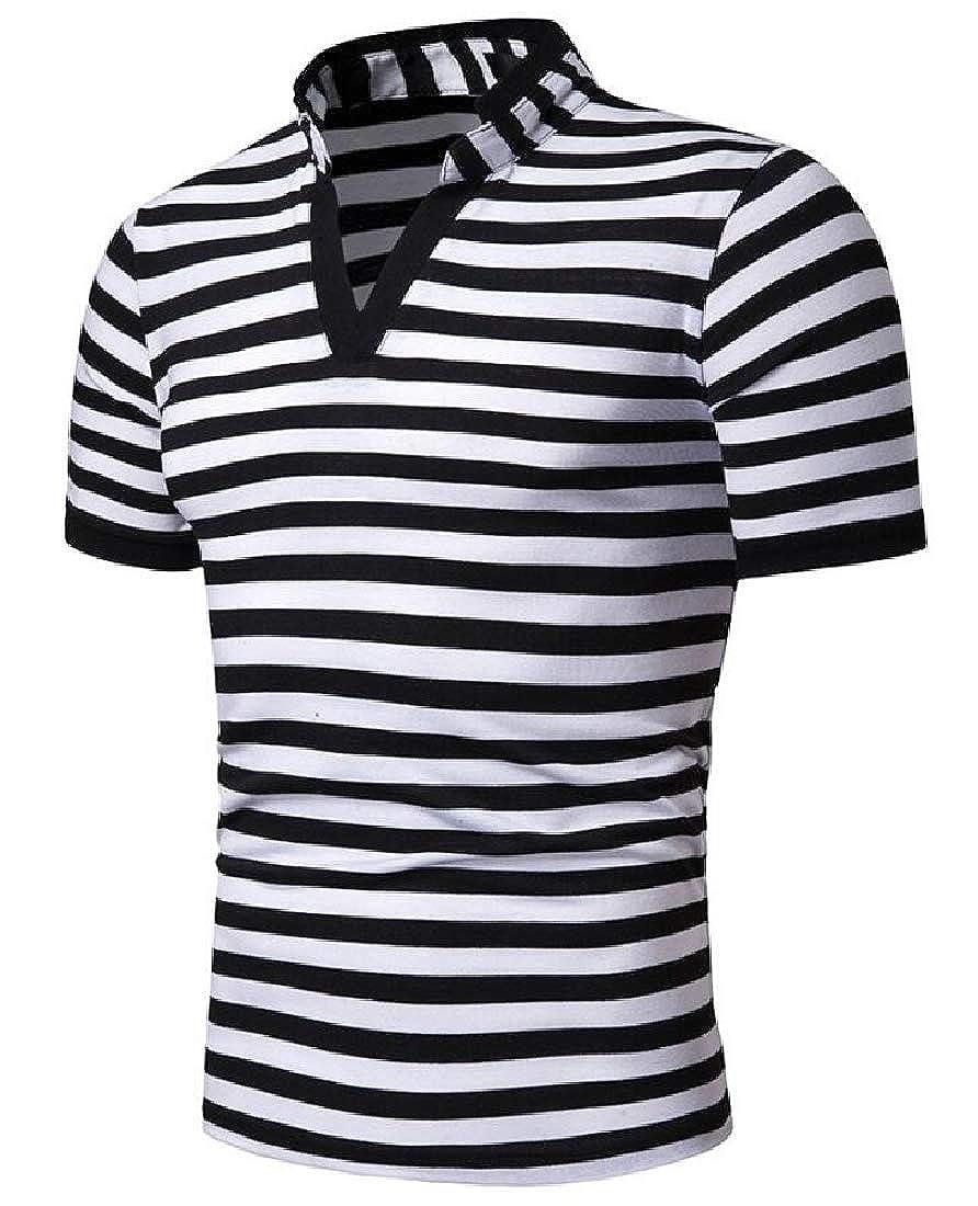 heymoney Mens Fashion Striped Top Short Sleeve Polo Shirt Loose Blouse