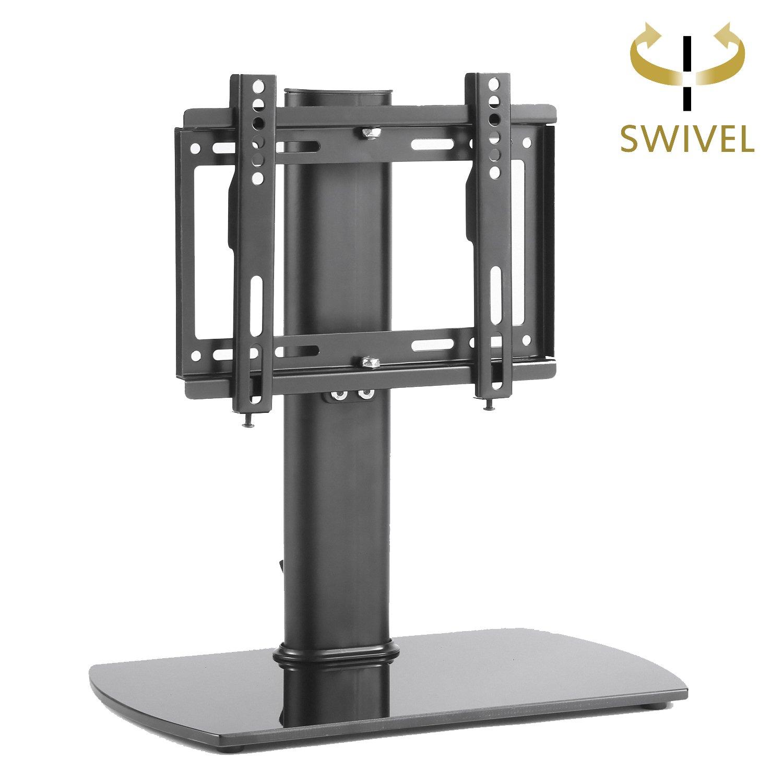 Rfiver Meuble Tv Pivotant Design Support Pieds En Verre  # Meuble Tv Avec Support Orientable