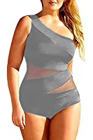 Chuanqi Women's Plus Size Sexy Off-Shoulder Mesh Swimsuit One Piece