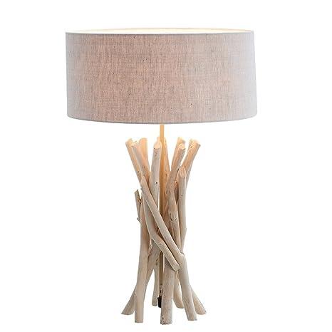 Lámpara de mesa astini 55 cm Color Beige Claro Madera con ...