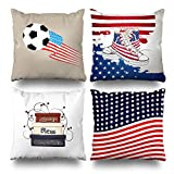 Soopat Decorativepillows Covers Soccer Usa American Patriotic Shoes Flag Red White Blue Series Set of 4, Throw Pillow Case Cushion Cover 18''X18'' 45cm x 45cm