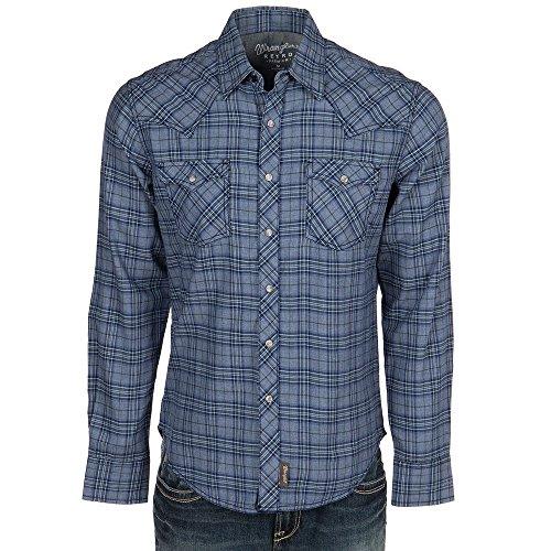 Wrangler Men's Retro Long Sleeve Two-Pocket Snap Plaid Indigo Heather (Retro Western Shirts For Men)