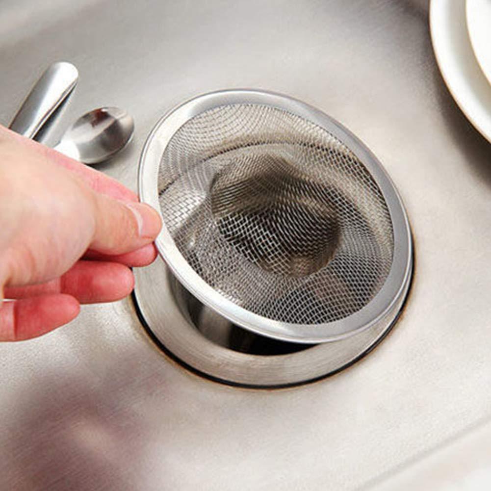 L FADDARE Lavello Filtro Scarico Strumento Facile da Pulire Filtro da Bagno Rete a Maglia fine Cucina Tondo Pratico Antibloccaggio Efficace Collettore per Capelli in Acciaio Inossidabile