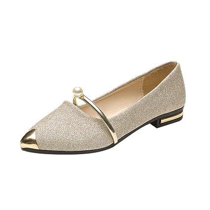 Fuxitoggo Zapatos de mujer, zapatos de perlas de punta estrecha para mujer Zapatos de perlas