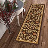 Non-Skid / Slip Rubber Back Antibacterial 2×5 ( 1'8″ x 5′ ) Door Mat Runner Rug Timeless Oriental Brown Traditional Classic Sarouk Thin Low Pile Machine Washable Indoor Outdoor Kitchen Hallway Entry