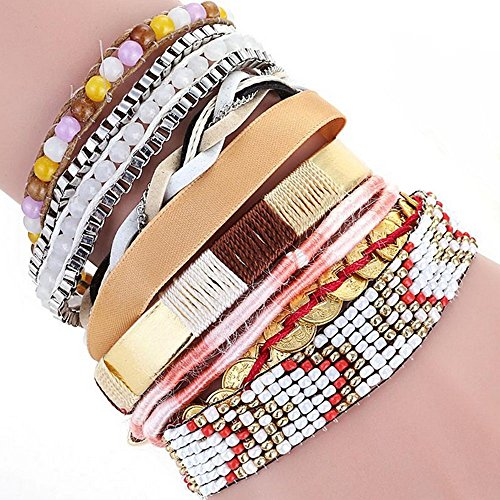 The Starry Night Beads Hand-woven Brazil Multi-layer Mixed Color Joker Alloy Magnetic Buckle bracelet