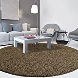 iCustomRug Cozy Soft And Plush Pile, (4' Diameter) Round Shag Area Rug In Light Brown