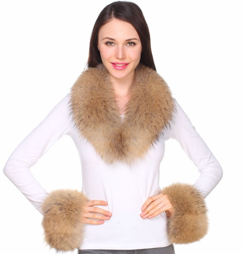 Ferand Women's Real Raccoon Fur Collar Scarf with 2 Matching Cuffs for Parka Jacket Winter Coat in Light Natural Color,31.5 inch