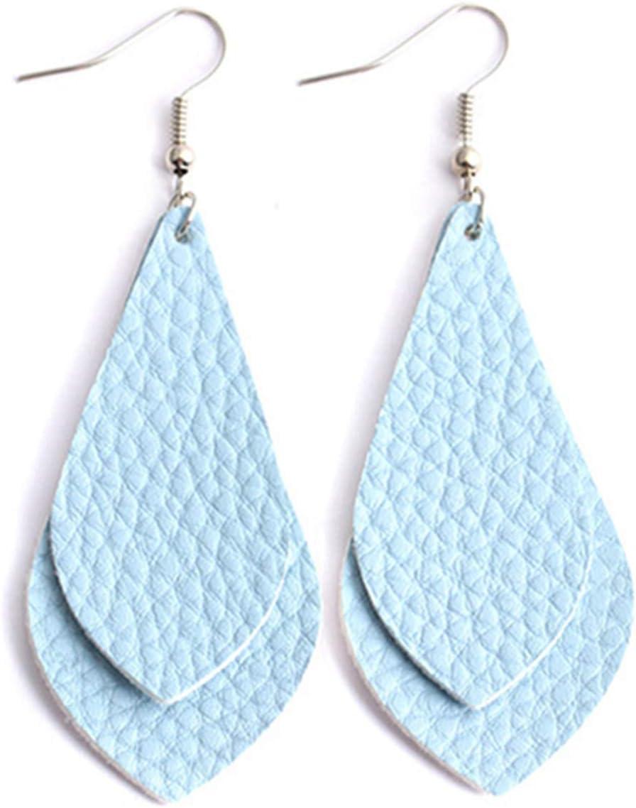 EJY Creative Double Layer PU Earring Drop Shape Pendant Women Earring Accessories Beige