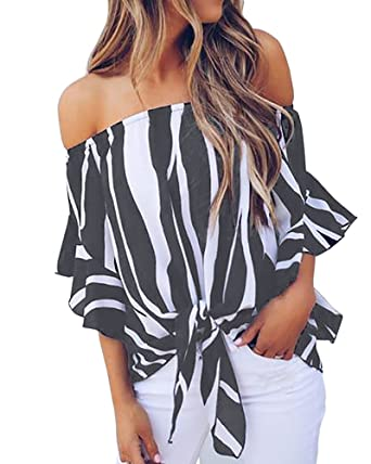 037d0a0ecd80b YOMISOY Womens Off Shoulder Tops Summer Bell Sleeve Striped Sexy Knot Tie  Chiffon Blouses at Amazon Women s Clothing store
