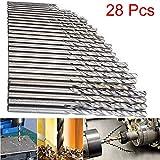 FIged Home Improvement Tools 28 Pcs Mini Drill HSS Bit 0.3mm-3.0mm Straight Shank PCB Twist Drill Bits Set