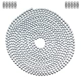 10 Foot Length Ball Chain, #6 Size, White Coated, & 10 Matching Connectors