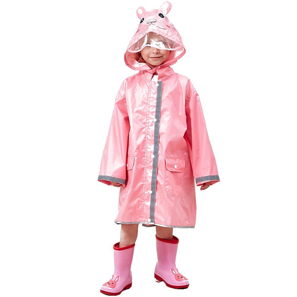 Children's Girls Boys Rain Poncho 3D Animal Hat Waterproof Hooded Raincoat Rain Jacket