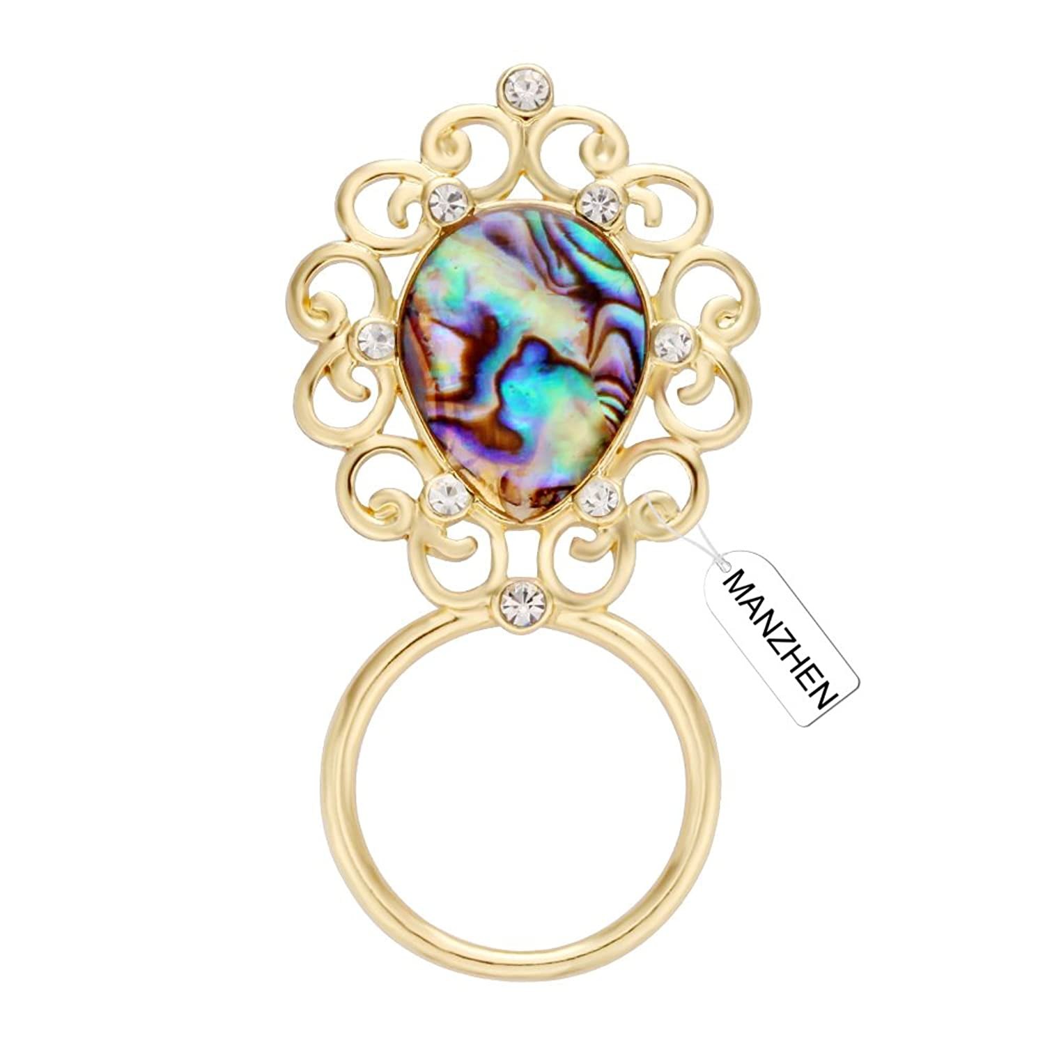 MANZHEN Delicate Abalone Shell Lace Flower Magnetic Eyeglass Holder Clip Brooch Jewelry