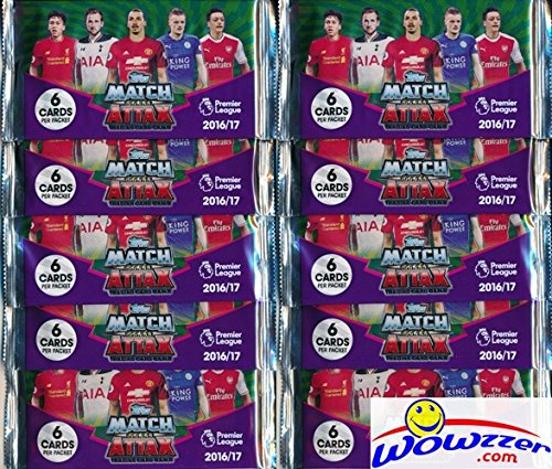 2016/2017 Topps Match Attax English Premier League Soccer lot of TEN(10)Factory Sealed Foil Packs with 60 Cards! Look for Cards of all the Top Stars of the Premier League! Imported from England! HOT!