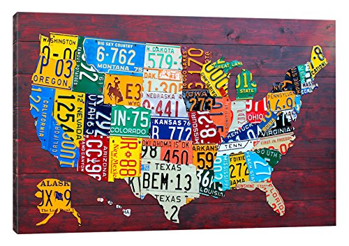 Recycled License Plates - iCanvasART USA Recycled License Plate Map VII Canvas Print 60