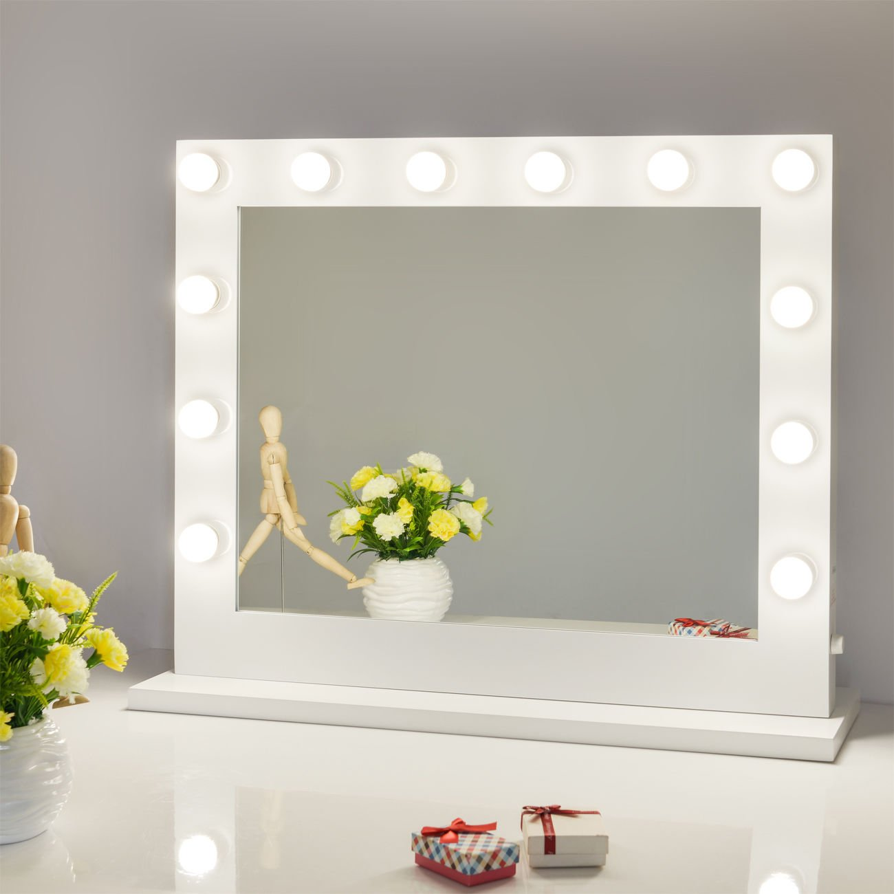 Amazon com  Chende White Hollywood Lighted Makeup Vanity Mirror Light Dressing Table Set Mirrors with Dimmer Tabletop or Wall Mounted