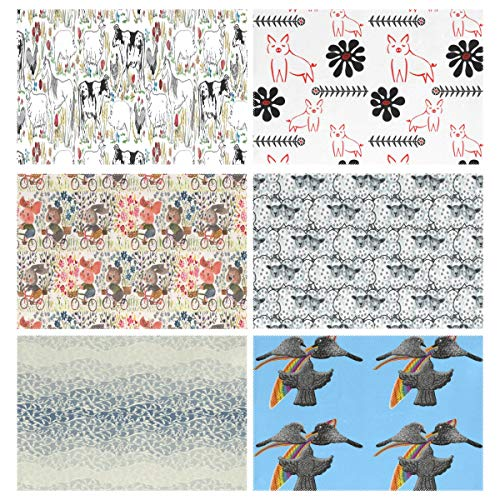 YOULUCK-7 Placemats Set of 6, Flowers On The Farm and Piglets Sewindigo Delivery Flock of Sheep Flight Pigeons Wallpaper Feather Bird Dining Table Mats for Home Kitchen Office ()