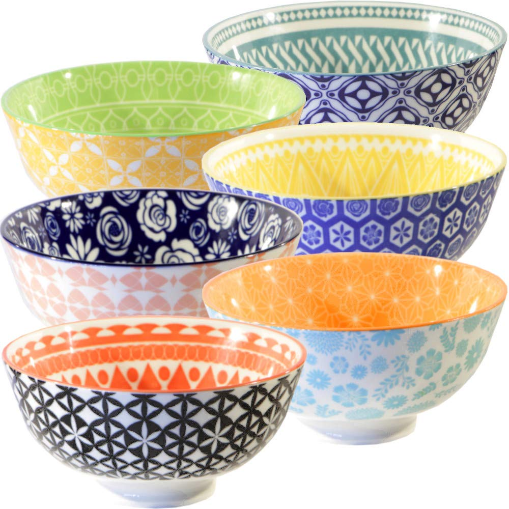 Annovero Cereal Bowls Set - Large Porcelain Soup, Rice, or Pasta Bowls; Microwave, Dishwasher & Oven Safe, Set of 6 Colorful Designs, 25 Fluid Ounce Capacity