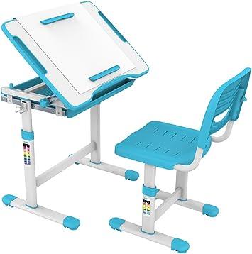 Ergonomic Design for Kids 05494A ProHT Height Adjustable Children Desk /& Chair Sets Kids Interactive Work Station w//Drawer Storage Boys /&Girls-Blue Tilting Desktop /&Paper Roll Holder