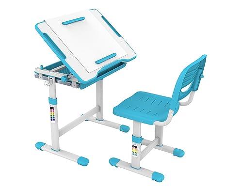 ProHT Height Adjustable Children Desk & Chair Sets (05494A) Kids  Interactive Work Station w/Drawer Storage, Tilting Desktop &Paper Roll  Holder,