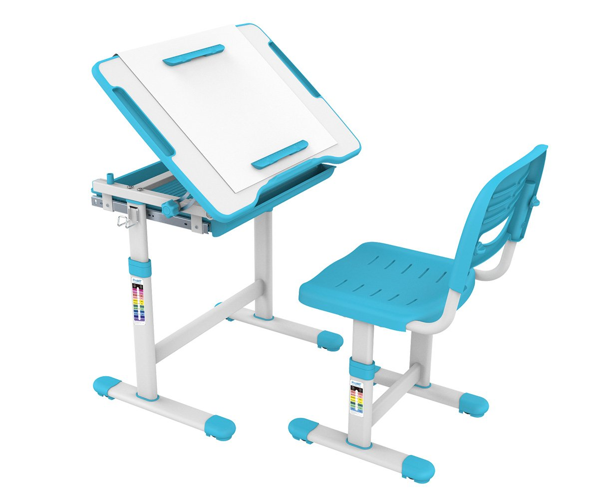 ProHT Height Adjustable Children Desk & Chair Sets (05494A) Kids Interactive Work Station w/ Drawer Storage, Tilting Desktop &Paper Roll Holder, Ergonomic Design for Kids, Boys &Girls-Blue