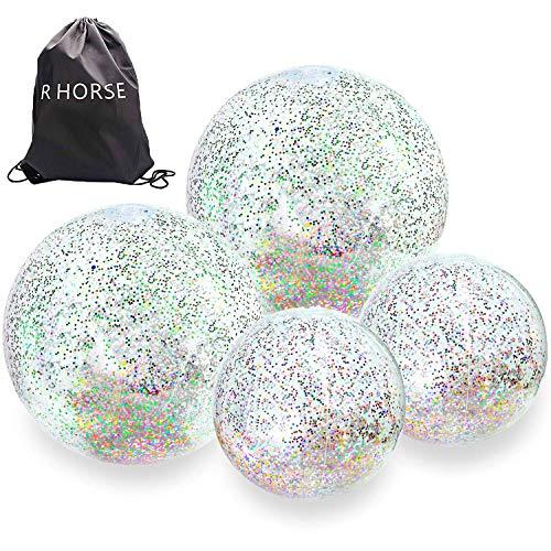 - R HORSE 5 Packs Glitter Beach Balls Set Inflatable Confetti Beach Ball Transparent Sequin Ball for Beach Party Pool Toy (2pcs 24Inch + 2pcs 16Inch Beach Balls + 1 Shoulder Bag)