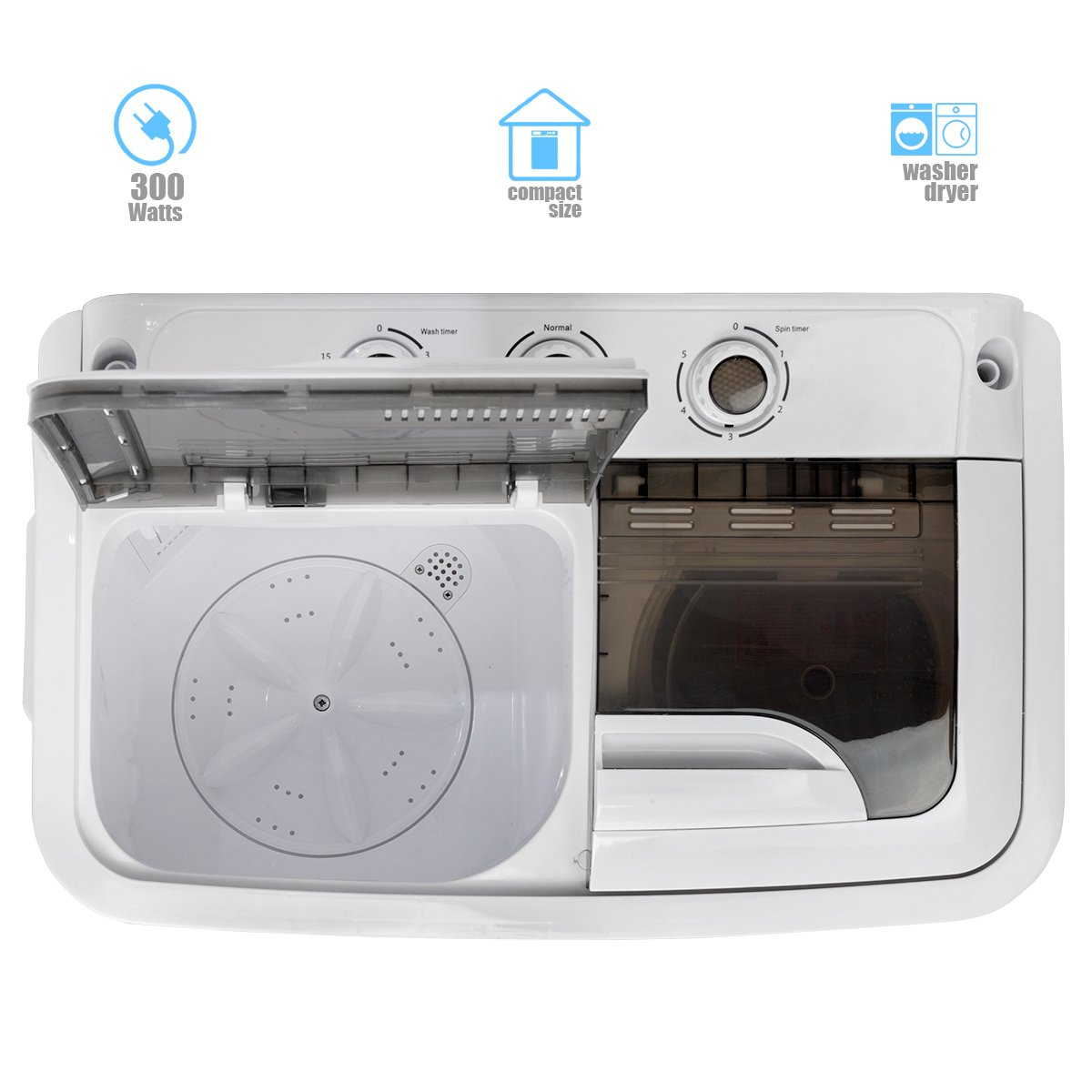 Amazon.com: Portable Compact Washer and Spin Dry Cycle with Built ...
