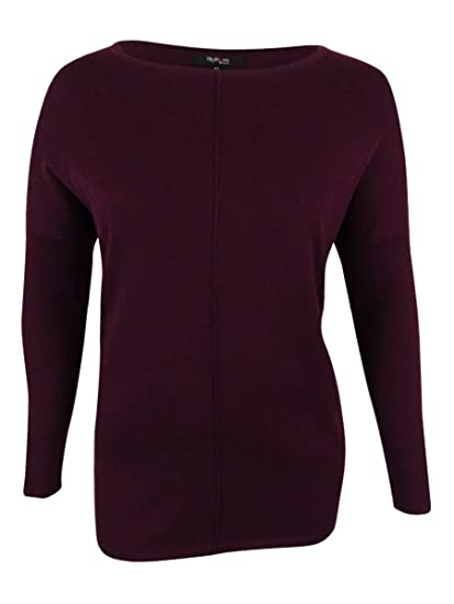e7231b29578 Style   Co. Womens Plus Ribbed Trim Long Sleeves Sweater Purple 0X