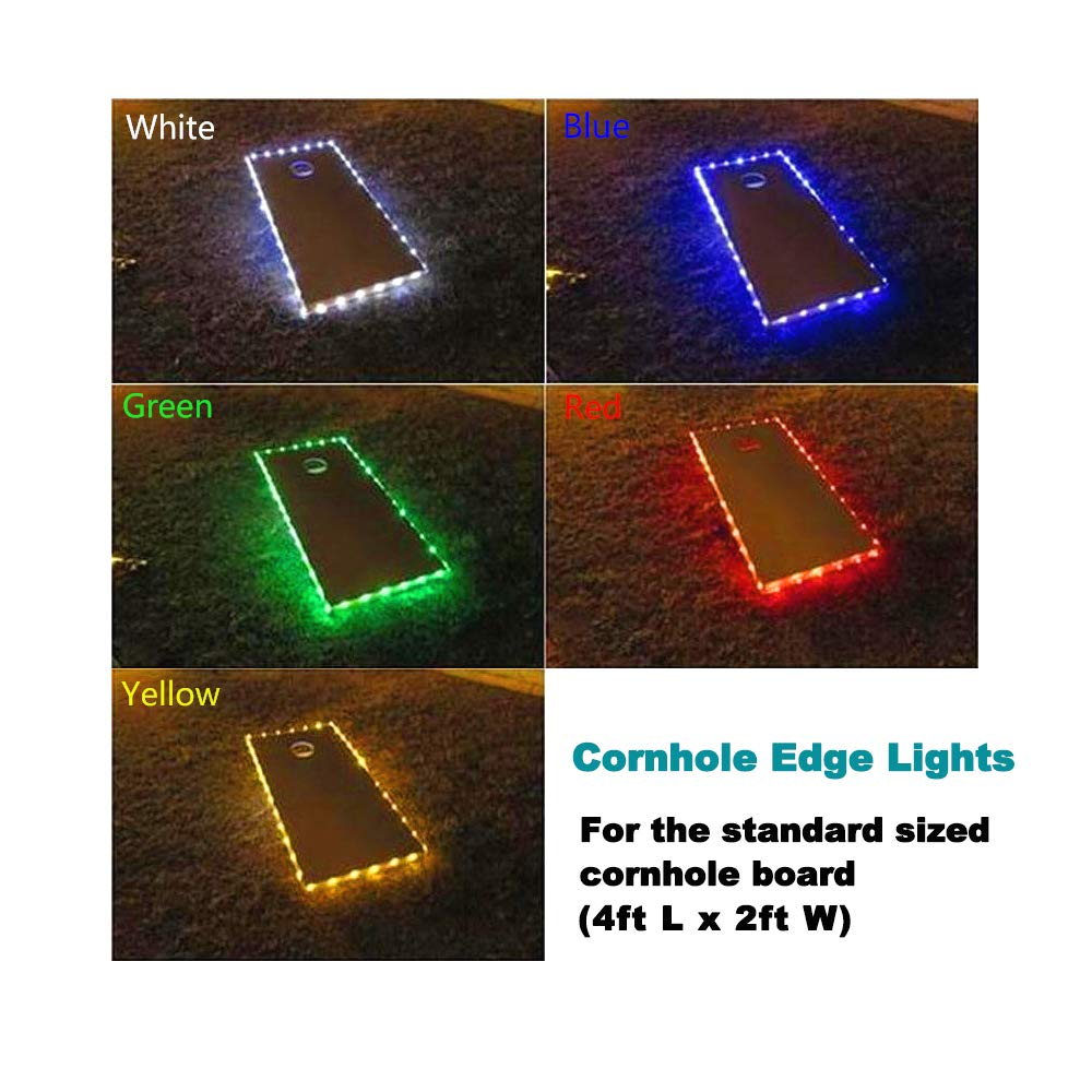 321 Lights(Set of 2 Cornhole Board Edge Lights Waterproof Lights with 5 Colors Options Last 100+ Hours on 3 AA Batteries(not Included) (2 Green)