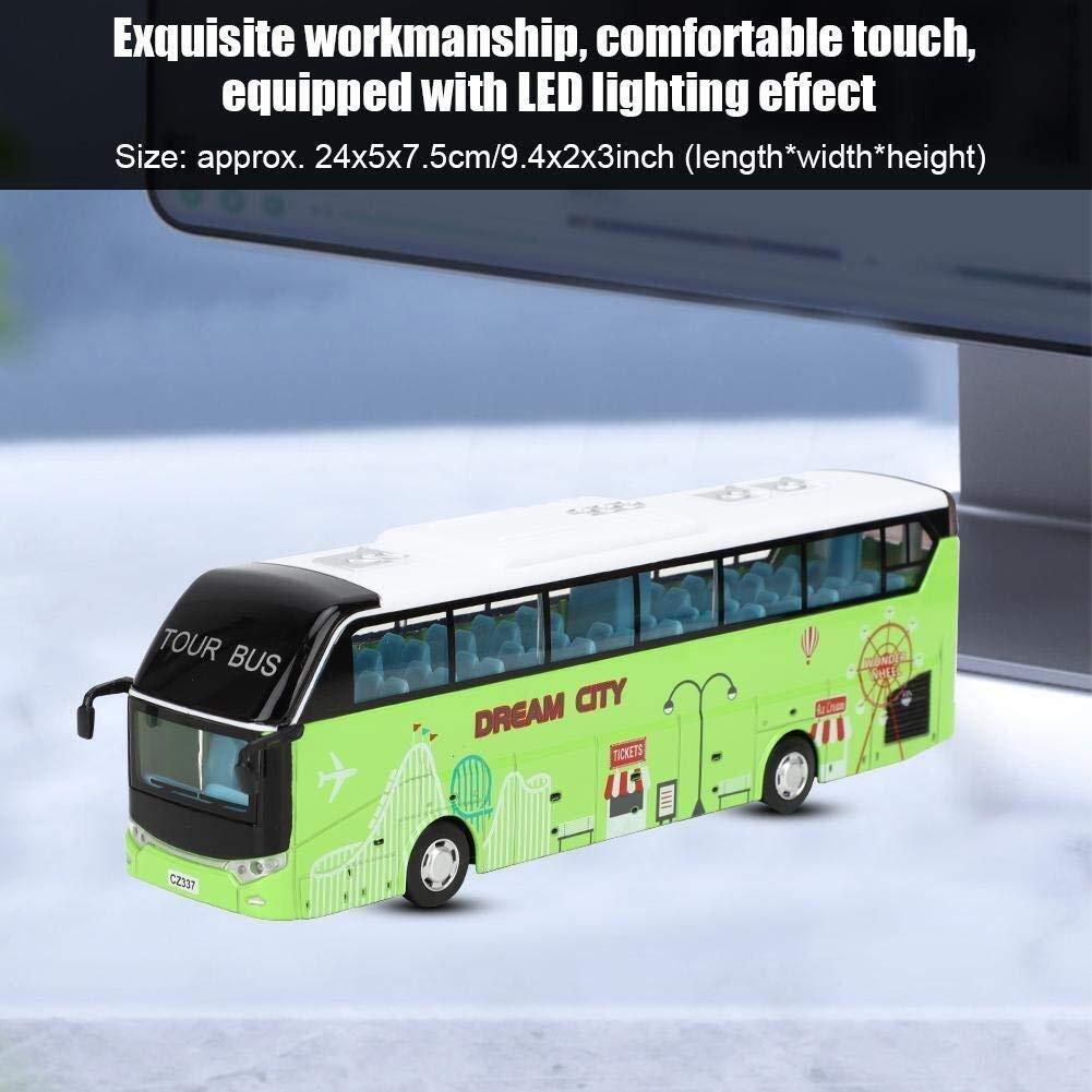 WJSXJJ Alloy Doppeldeckerbus, 01.32 Sightseeing-Busse Spielzeug-Modell Simulation Tour Bus-Spielzeug mit Licht for Kinder Kleinkinder Kinder (Color : White) Green