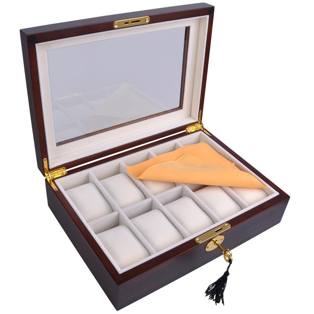 "Luxury Design Ebony Matte Stain Wooden Glass Top 10 Watch Display Case 11""x8"" Jewelry Box Organizer Key"
