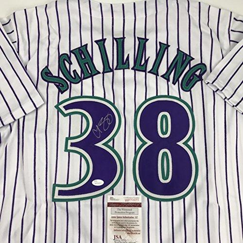 Autographed/Signed Curt Schilling Arizona Pinstripe Baseball Jersey JSA COA ()