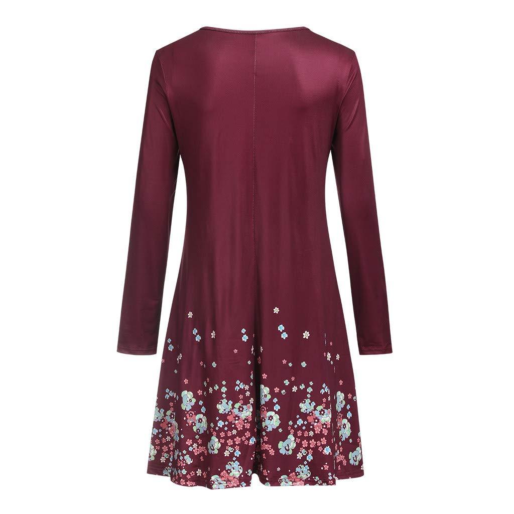 Sleeve Print Dress,Youngh Women Summer Long Sleeve Print Evening Party Beach Dress Short Dress