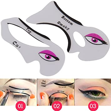 AllRight Eyeliner Stencil Template Eyeshadow Guide Smokey Cat Quick Eye Makeup Tool Set 2 Pcs