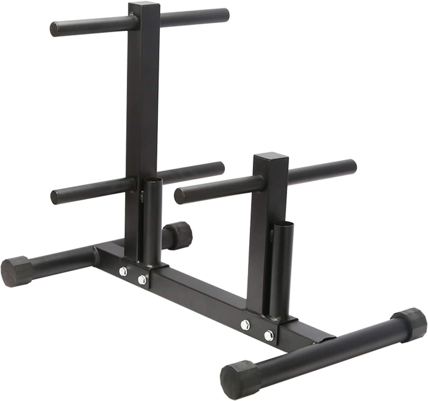 Ibnotuiy 1in Weight Plate Rack Tree for Dumbbell Plates Olympic Free Weight Storage Rack Stand with 2 Standard Bar Holder for Home Gym Maximum Load 440 lb
