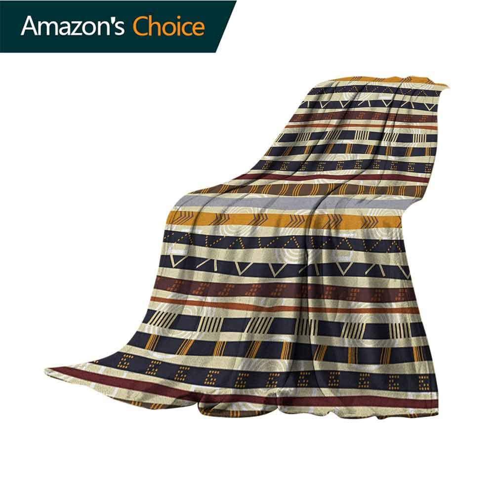 Tribal Picnic Blanket,Ethnic African with Trippy Geometric Forms Primitive Heritage Wild Earthen Pattern Microfiber All Season Blanket for Bed or Couch Multicolor,60'' Wx70 L Multicolor