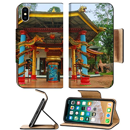 Luxlady Premium Apple iPhone X Flip Pu Leather Wallet Case IMAGE ID: 34432468 View of old monastery beside garden Taken at Vihara Dewi Kwan Im Kraton Kawi Mountain Malang - Kraton Box